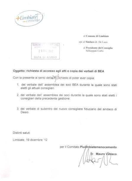Richiesta di accesso agli atti protocollata il 20 dicembre 2012