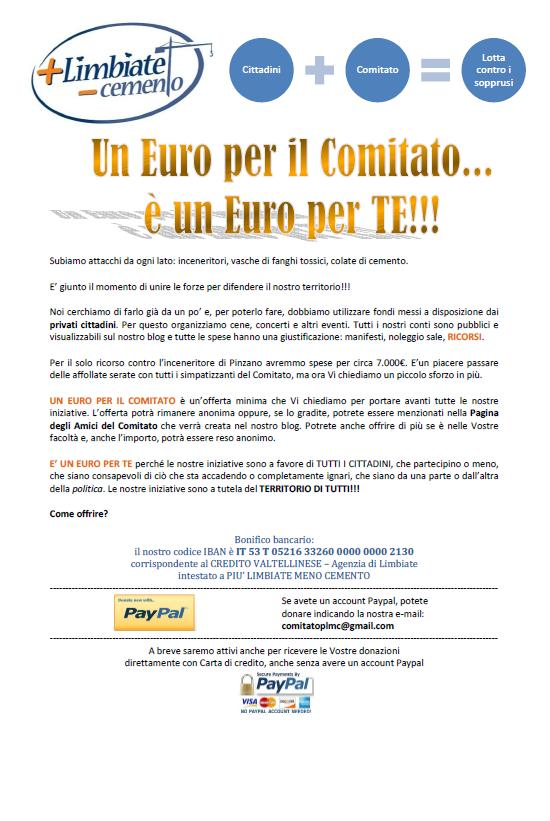 Un euro per il Comitato