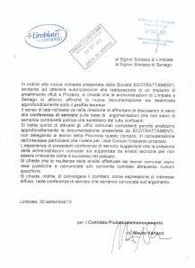 Lettera protocollata nei  Comuni di Limbiate e Senago in data 30 settembre 2013