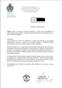 La risposta del Sindaco  del 19 settembre 2013
