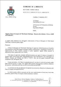 La relazione del Dirigente Tecnico del Comune di Limbiate del 19 settembre 2013 (Pagina 1)