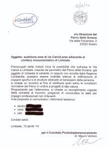 La nostra richiesta protocollata in data 16 aprile 2014 presso la Direzione del Parco Groane