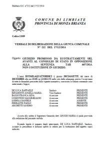 Delibera n. 212 del 17/12/2014 Comune di Limbiate (Clicca sull'immagine per il PDF completo)