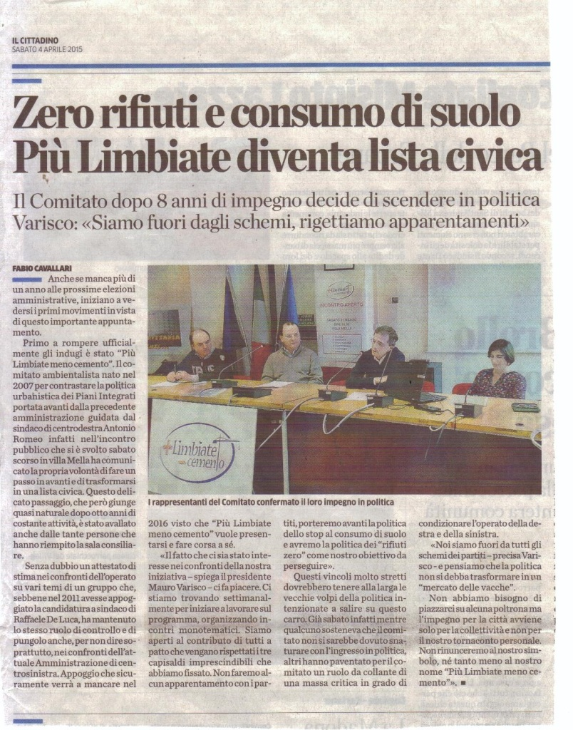 Lista civica- articolo Cittadino